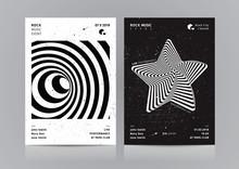Set Of Rock Music Flyer Layout. Mockup Vector Illustration.