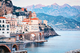 Amalfi town at Tyrrhenian sea in evening