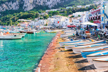 Boats At Marina Grande Embankment In Capri Island Tyrrhenian Sea