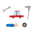 vector flat car service, maintenance icons set. Man mechanic hand in working uniform thumbs up, automatic screwdriver, car wheel, wrench and sedan red car . Isolated illustration on a white background