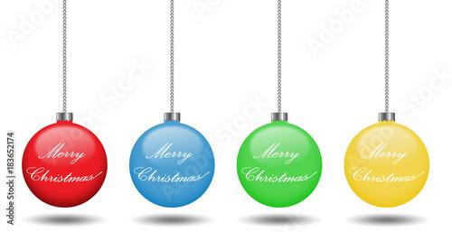 Immagini Palline Natalizie.Palline Natalizie Colorate Appese Con Auguri Di Natale Stock Vector Adobe Stock