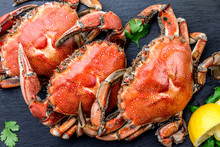 Cooked Whole Crabs On Black Pl...