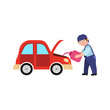vector flat adult man mechanic in blue uniform changing replacing car oil holding oil canister in open hood. Male full lenght portrait caucasian isolated, illustration on a white background