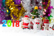 Christmas props decorations on christmas snow field background with copy space.Merry Christmas and happy new year concept.