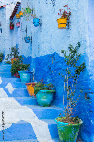 Deurstickers Traditional moroccan courtyard in Chefchaouen blue city medina in Morocco, architectural details in Blue town Chaouen. Typical blue walls and colorful flower pots.