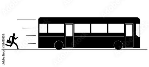Obraz na plátně Person missing the bus pictogram silhouette vector