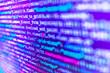 Leinwandbild Motiv  Software development. Programming code on computer screen.  Abstract screen of software. Database bits access stream visualisation.  HTML5 in editor for website development.