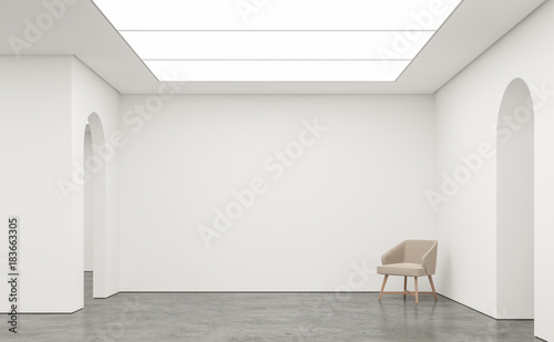 Photographie Empty white room modern space interior 3d rendering image