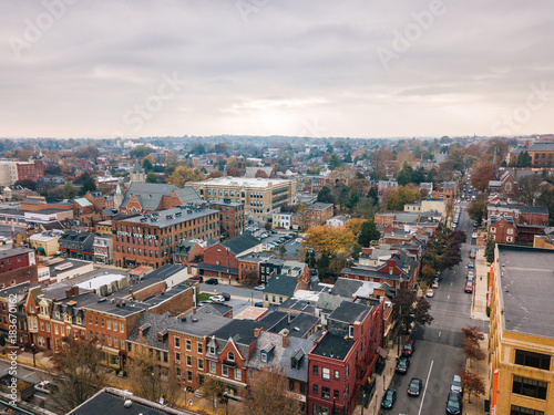 Aerial of Downtown Lancaster, Pennsylvania areound the Central Markets © Christian Hinkle