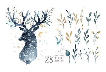 Watercolor closeup portrait of cute deer. Isolated on white background. Hand drawn christmas illustration. Greeting card animal winter design decoration