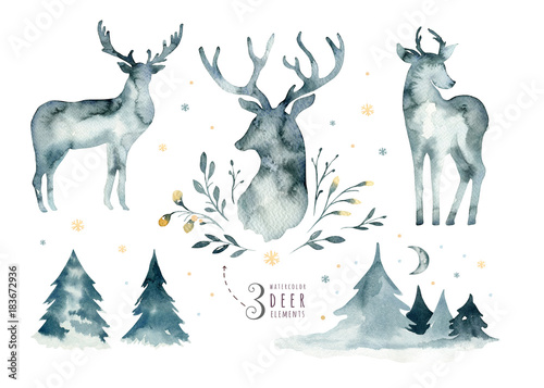 Cadres-photo bureau Cerf Watercolor closeup portrait of blue deer. Isolated on white background. Hand drawn christmas indigo illustration. Greeting card animal winter design decoration