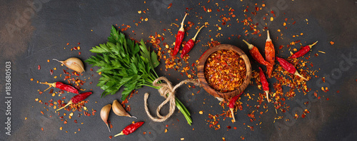 Red chili peppers, garlic and parsley