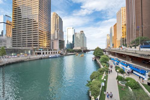 Canvas Prints Northern Chicago River Riverwalk on North Branch Chicago River in Chicago, Illinois