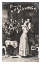 Young Couple Celebrated With Christmas Tree Vintage Picture