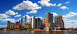 Colorful beautiful and panoramic HDR image of the skyline of Downtown Manhattan on blue cloudy sky, New York City