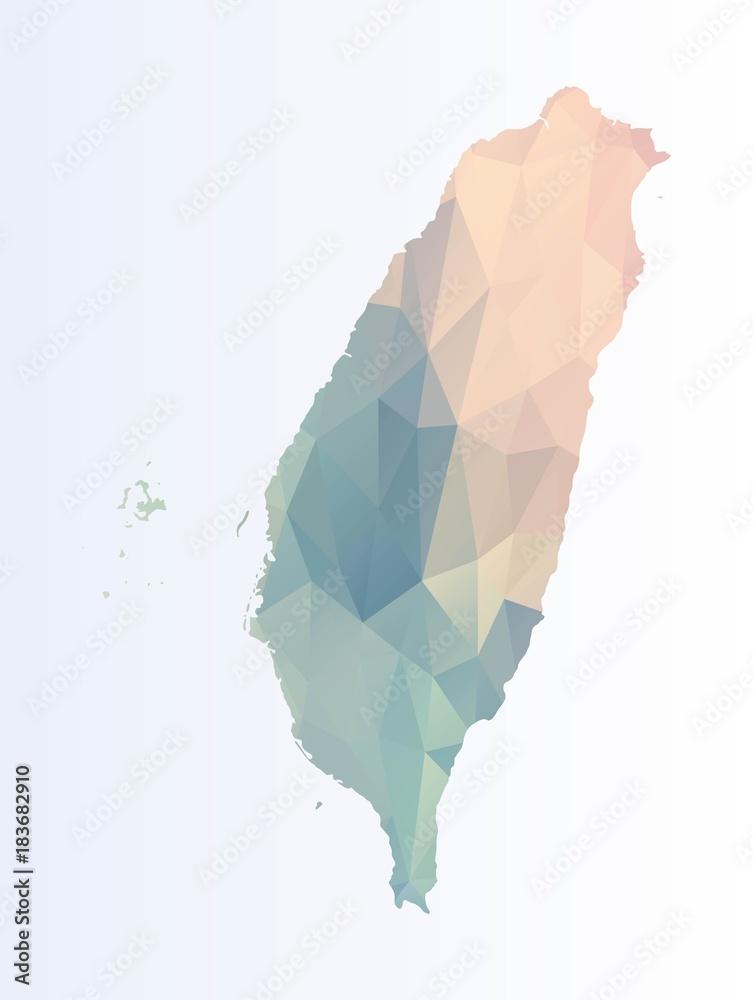 Fotografie, Obraz Polygonal map of Taiwan