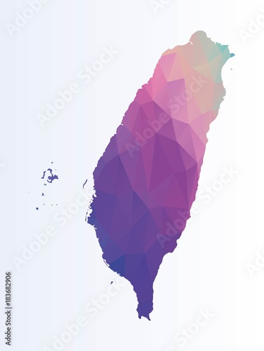 Polygonal map of Taiwan Wallpaper Mural