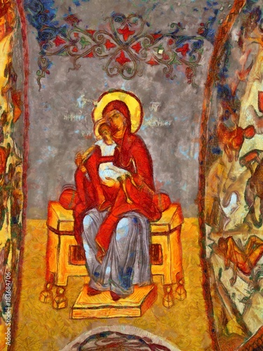 Ancient fresco of the Virgin Mary. Stock. Big size pictorial art. Watercolor and oil mixed painting style. Good for printing art pictures, design postcard, posters and wallpapers