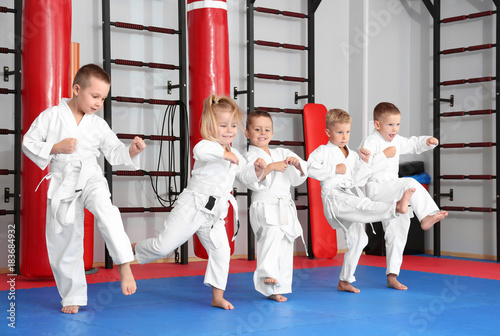 In de dag Vechtsport Little children practicing karate in dojo