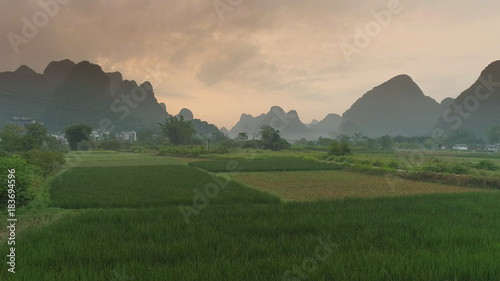 Tuinposter Beige Landscape of Guilin Li River