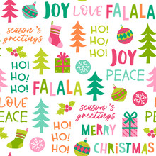 Cute Colorful Christmas Elements And Words Seamless Pattern Background