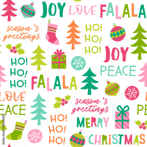 Stoffe zum Nähen Cute colorful christmas elements and words seamless pattern background