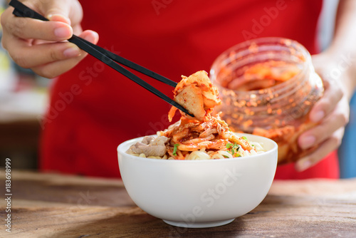Korean food,instant noodle with kimchi cabbage