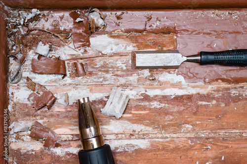 Removing Paint From The Floor With A Hot Air Gun Repair Tools Chisel