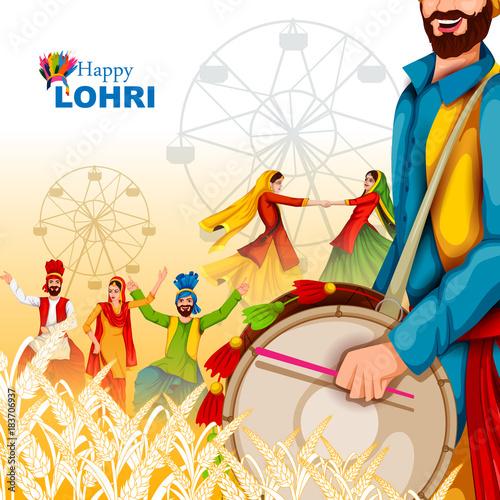 Fényképezés  Happy Lohri festival of Punjab India background