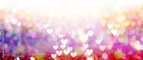 Cuadros en Lienzo Beautiful shiny hearts and abstract lights background