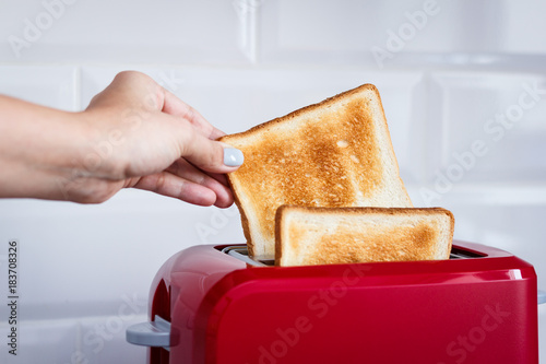 Red toaster with toasted bread for breakfast inside. Hands Girl pulls out ready toasts.