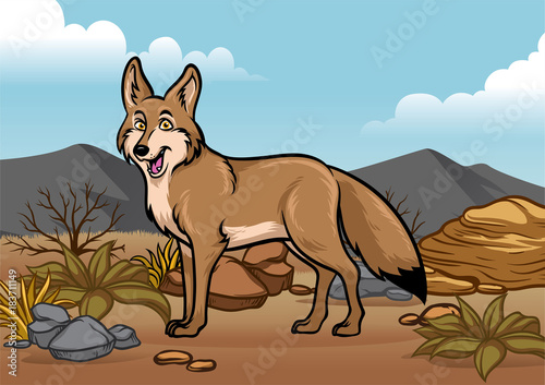Cuadros en Lienzo cartoon coyotes illustration in the desert