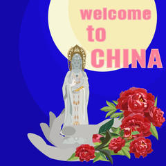 Guanyin, chinese Goddess of Mercy flat vector illustration