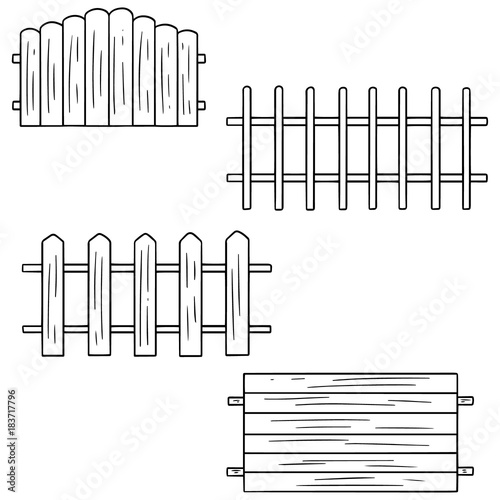 Fotografie, Obraz  vector set of fence