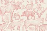 Bezszwowy wzór z zwierzętami i kwiatami. - 183718193