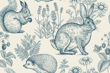 Seamless Pattern With Animals And Flowers.