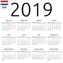 Calendar 2019, Dutch, Monday