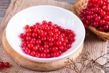 Ripe red viburnum berries in a bowl on table