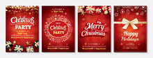 Merry Christmas Party Glass Ball And Gift Box For Flyer Brochure Design On Red Background Invitation Theme Concept. Happy Holiday Greeting Banner And Card Template.