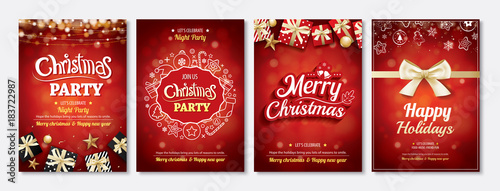 Fototapeta Merry Christmas Party Glass Ball And Gift Box For Flyer Brochure Design On Red Background Invitation Theme Concept Happy Holiday Greeting