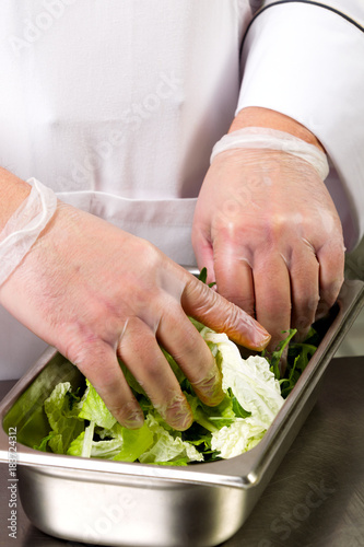 Cooking food. The hands of the chef make a salad Wall mural