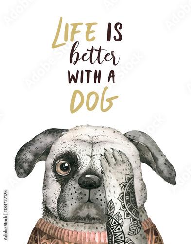 Portret zbliżenie akwarela ładny pies. Pojedynczo na białym tle. . Ręcznie rysowane słodkie domowe zwierzaka. Kartkę z życzeniami zwierząt opieki projekt dekoracji