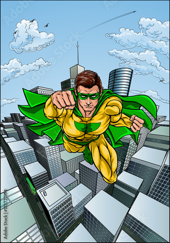 Comic Book Flying Superhero City Canvas Print