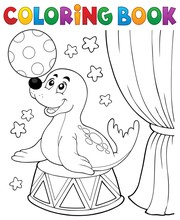 Coloring Book Seal Playing Wit...