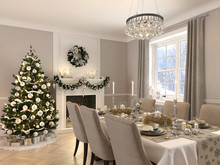 Luxury Dining Room With Christmas Decoration By Day. 3d Rendering