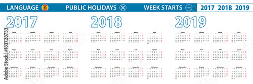 Foto  Simple calendar template in Spanish for 2017, 2018, 2019 years