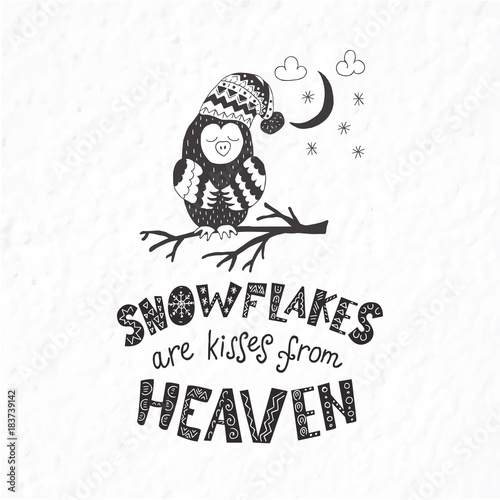 Printed kitchen splashbacks Watercolor skull Winter postcard with quotes and phrases. Funny owl.