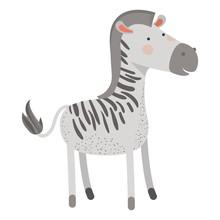 Zebra Cartoon Colorful Silhoue...