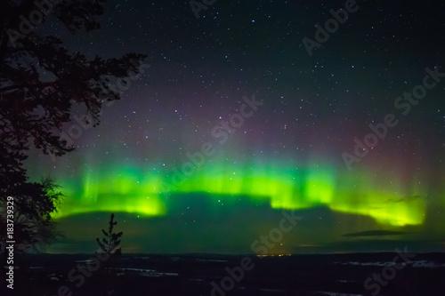 Fotografia, Obraz  Northern lights image taken in Finish Lapland
