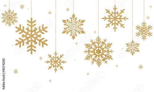Obraz Złote płatki śniegu na białym tle - fototapety do salonu